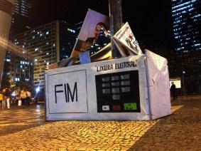 Street art from election waste in Rio de Janeiro