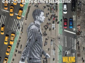 I'm walking: JR's stunning image hits the cover of the New York Times Magazine