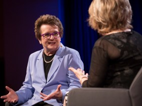 """I beat Bobby Riggs because I respected him"": Billie Jean King talks the Battle of the Sexes at TEDWomen 2015"