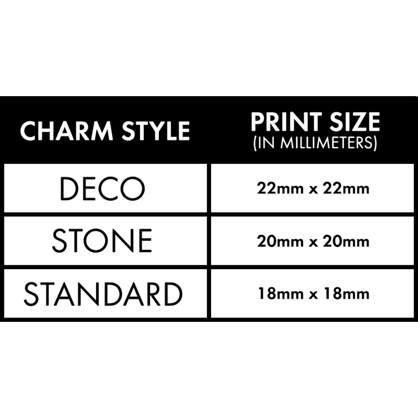 Charm Size Spec Sheet