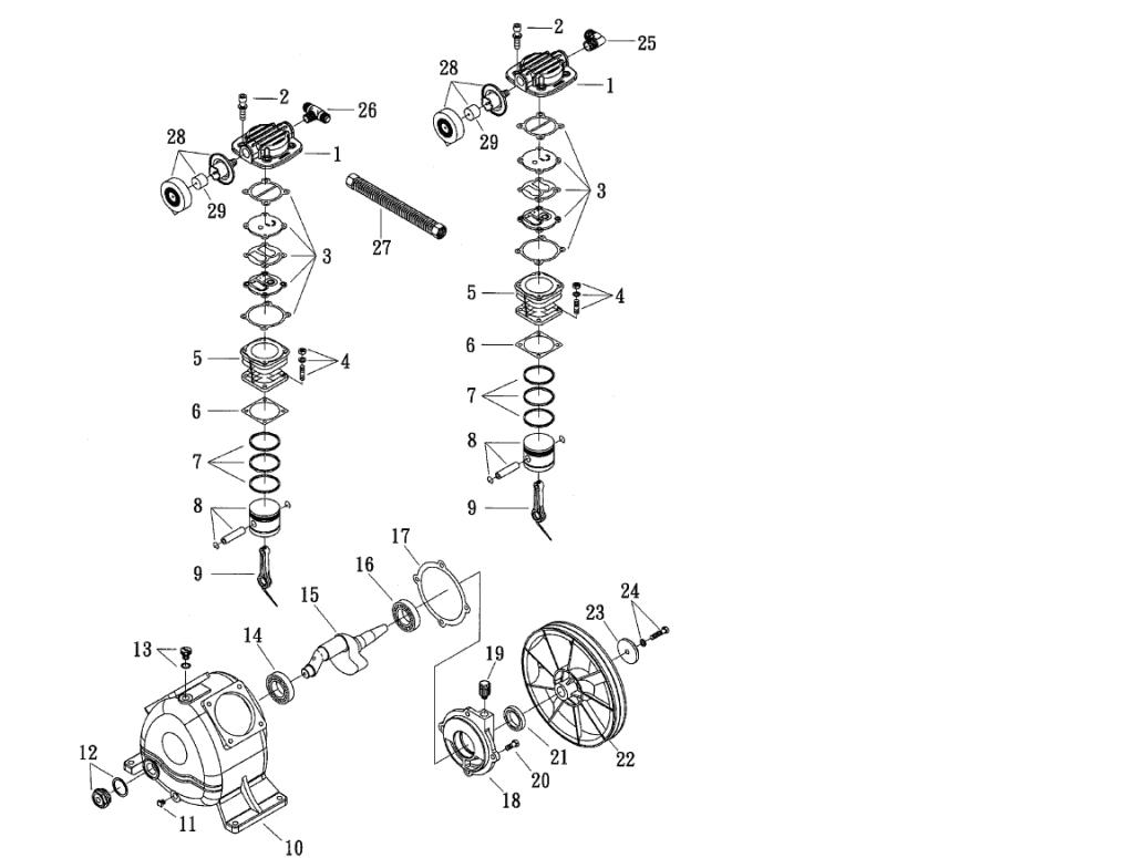 Bagian-bagian kompresor udara - pompa