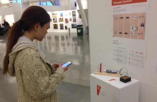 Arduino Telegraph on exhibit at a student show