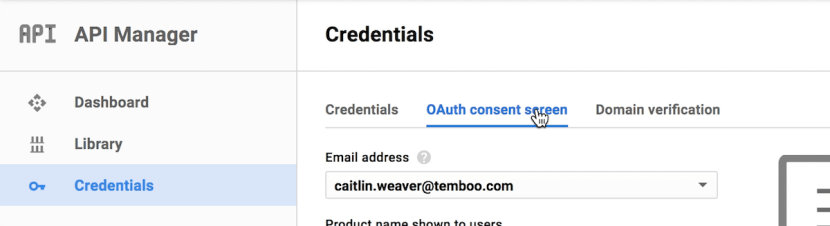 Where to find the OAuth consent screen configuration