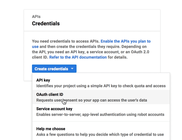 Choosing OAuth Client ID from the Create credentials menu