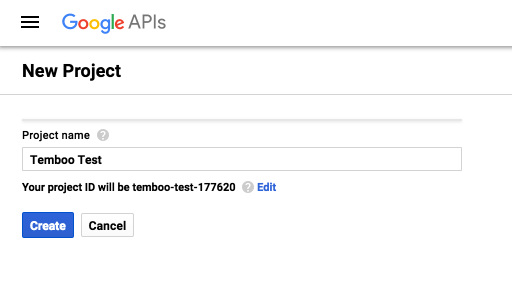 Creating a project in Google Console