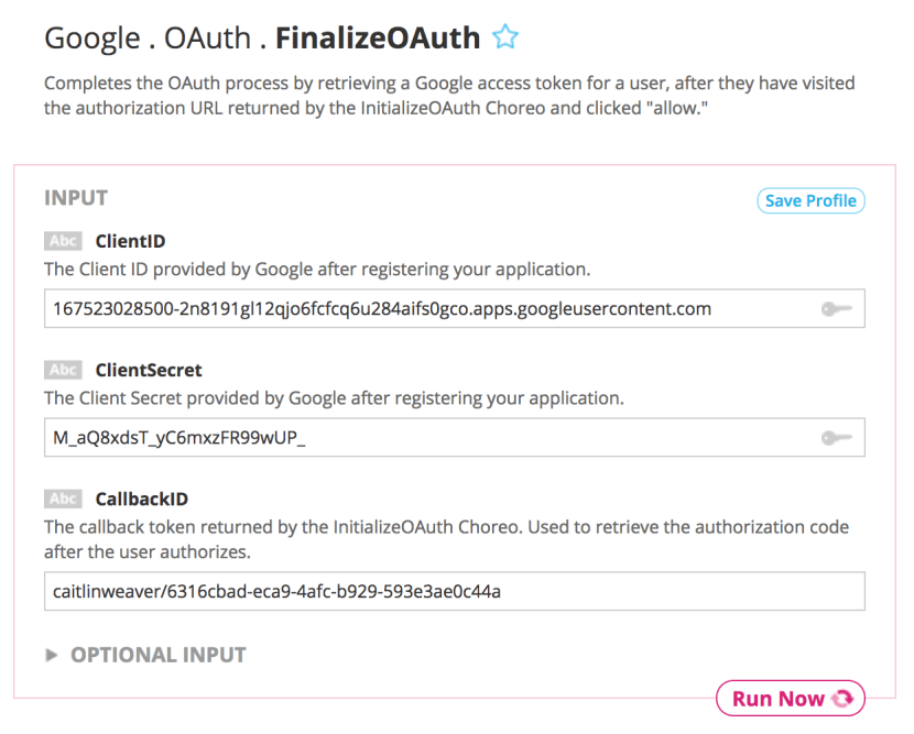 Input to the Finalize OAuth Choreo