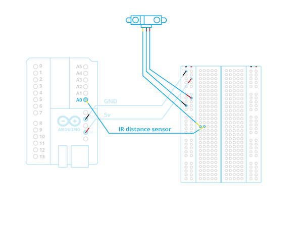 Diagram of IR sensor setup on an Arduino