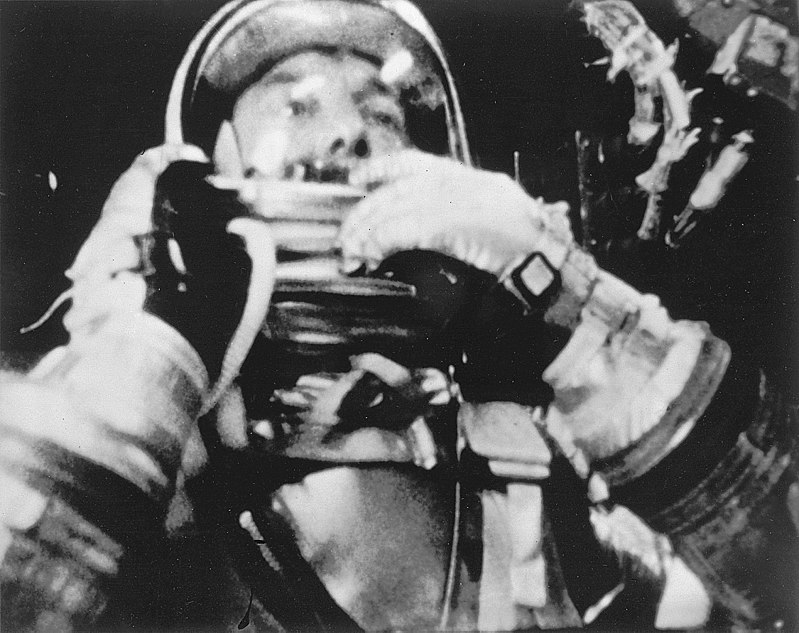 Astronaut Alan Shepard photographed in flight inside the Freedom 7 spacecraft.