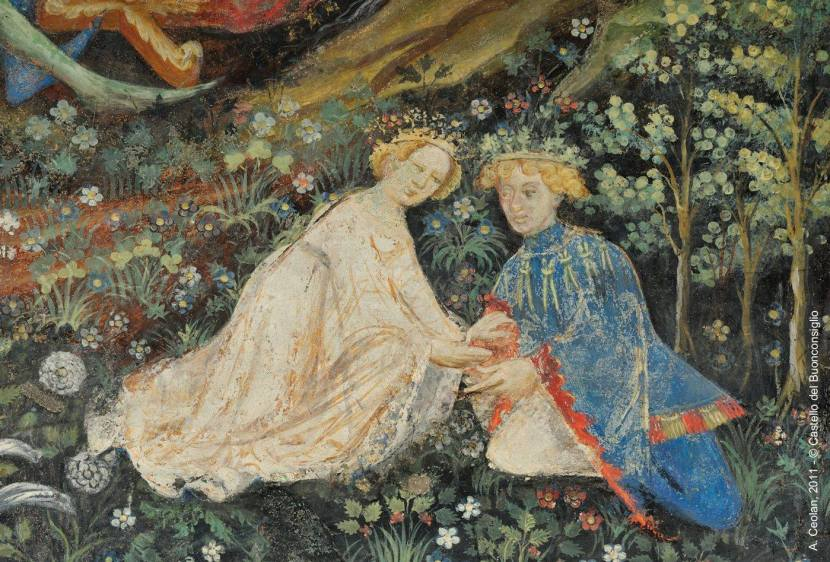 Woman and man embracing in Cycle of the Months fresco
