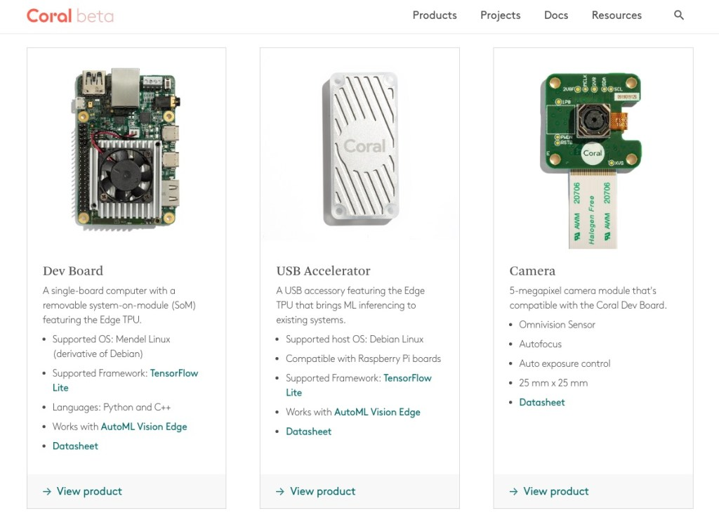 Coral machine learning hardware products from Google