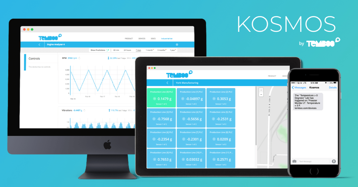 The Kosmos IoT System dashboard on a computer, tablet, and phone.