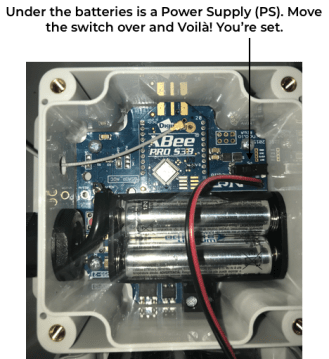 Power source switch for soil moisture monitoring system