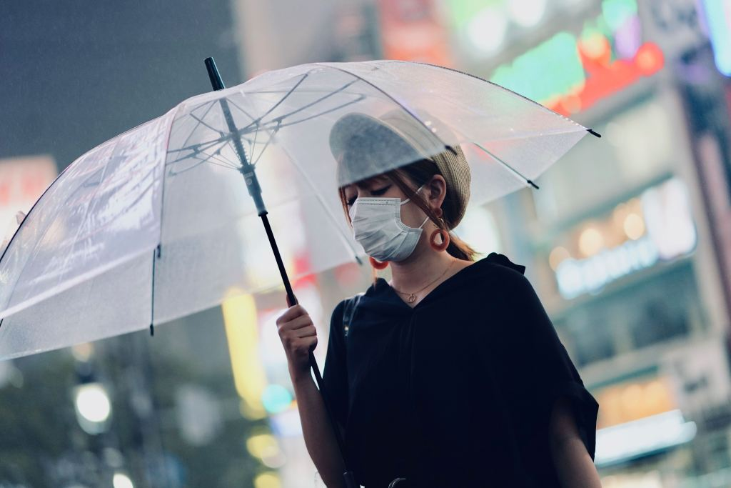 city-dweller wearing a surgical mask