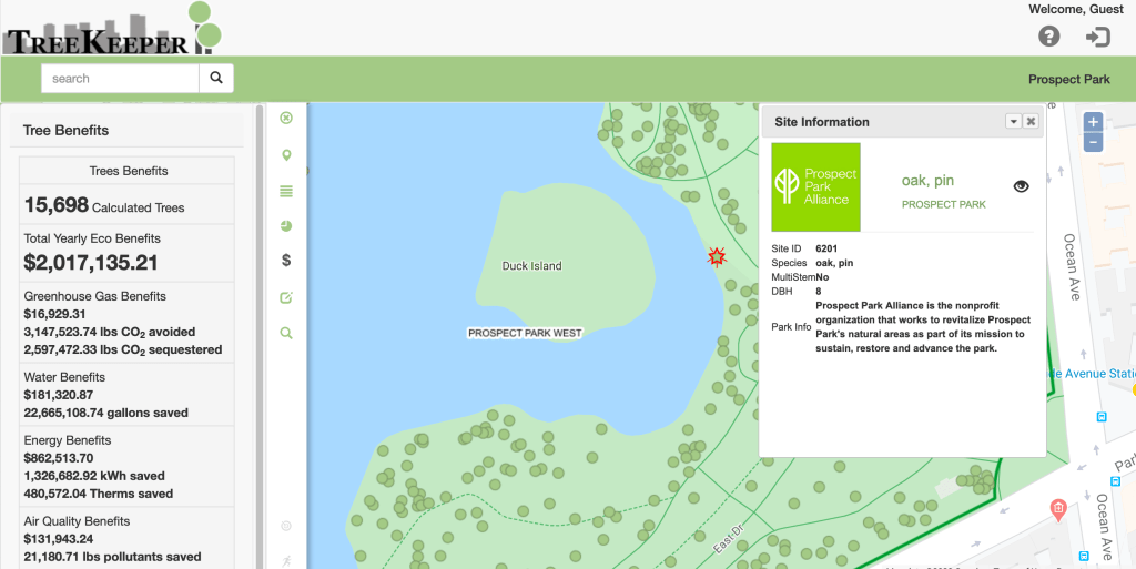 Screenshot of Prospect Park tree map