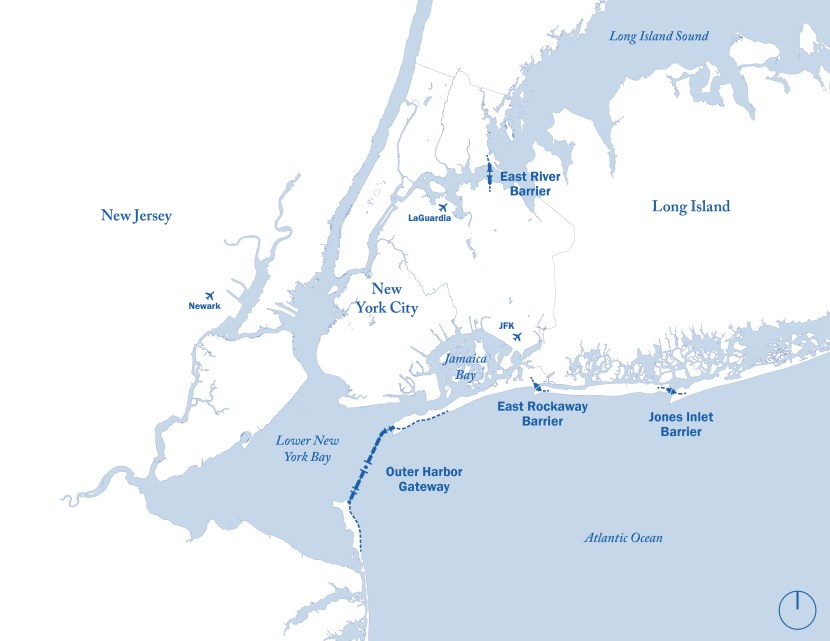 Map of the proposed sea gate plan for New York City Harbor