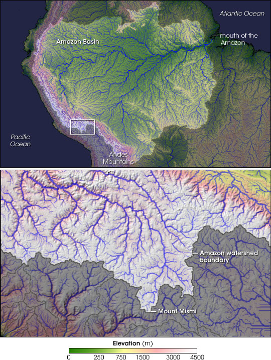Map showing the Amazon River watershed