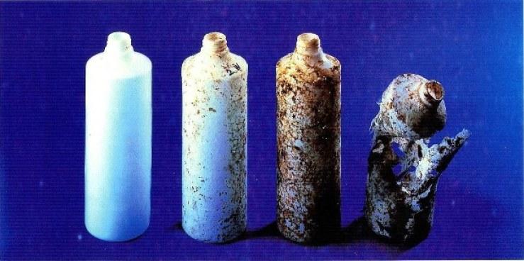 Biodegradable plastic bottle decomposing over time.