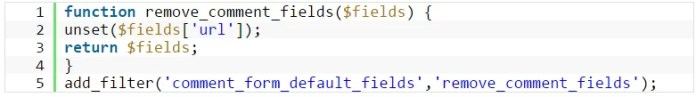 Remove the URL field in comments