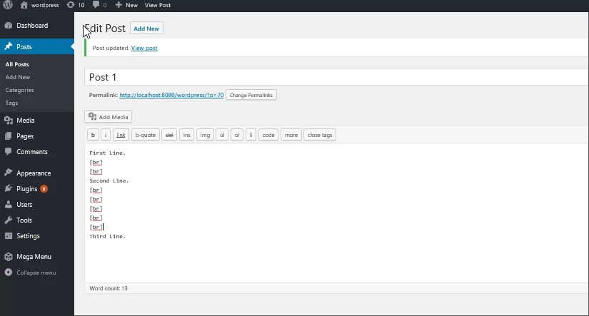 Information : WordPress line break not Working