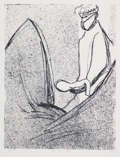 John Foster. Untitled – from the 'Forceps Delivery' series. 1978. Lithograph on paper. Purchased 2015. Te Papa (2015-0026-9).