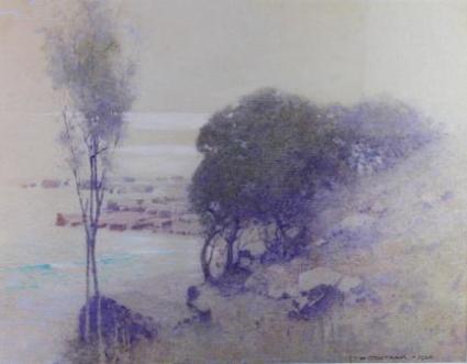 John William Tristram, Coastal Scene, 1924. Watercolour. Private collection.