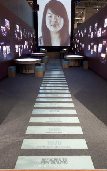 The timeline in The Mixing Room exhibition. Photo by Kate Whitley (Te Papa, MA_I.302077).