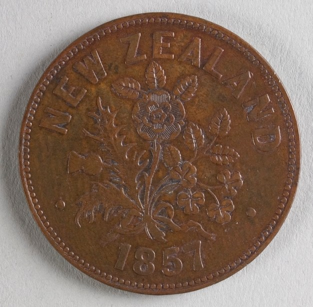 Reverse of token issued by M. Somerville, 1857, Auckland, maker unknown. Te Papa (NU005474)