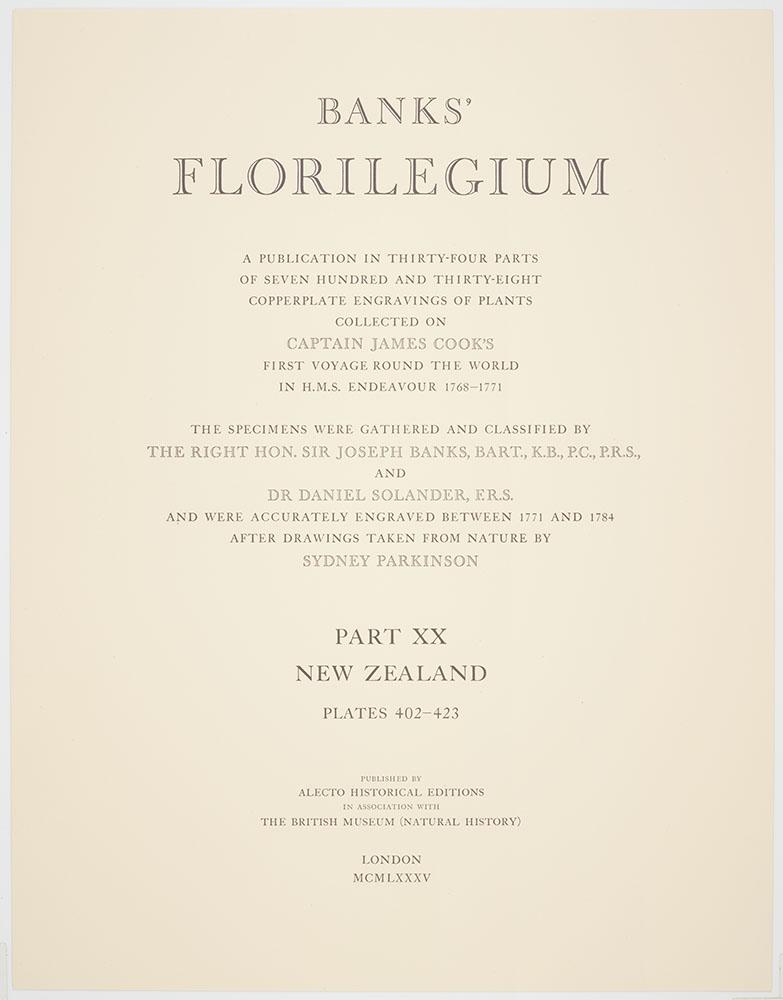 Banks Florilegium Part XX : Plates 402-423 : Title page