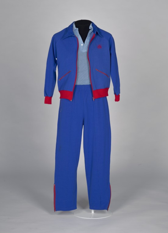 Blue tracksuit with red trim