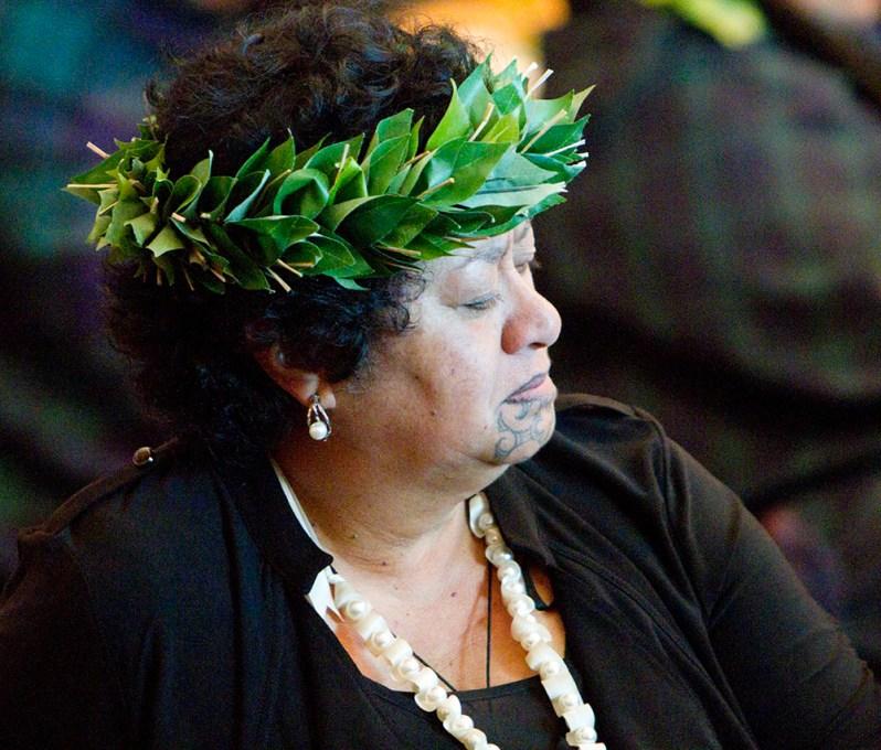 Te Hēmanawa Olive Temara at repatriation ceremony, 2012. Photo by Michael Hall. Te Papa