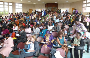 The attendees in Cameroon eagerly listen to the plenary speaker.