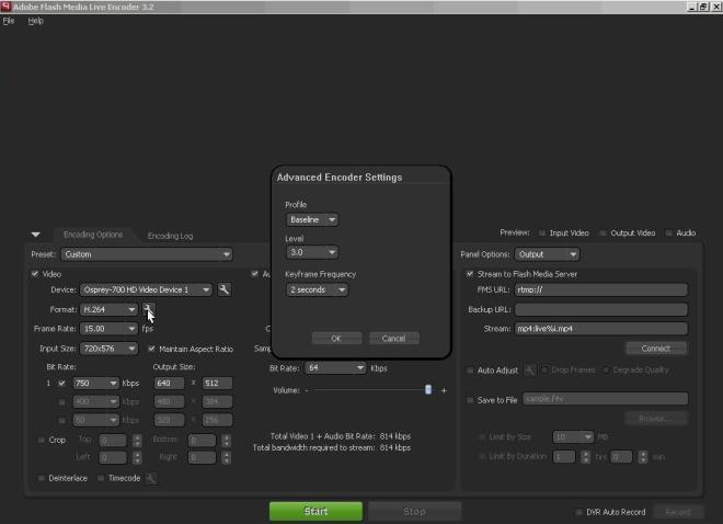 Adobe FMLE settings part 2