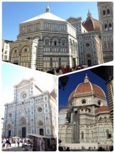 フィレンツェのドゥオーモ(大聖堂、左下)は、イタリアにおける晩期ゴシック建築および初期ルネサンス建築を代表するもので、フィレンツェのシンボルとなっています。石積み建築のドームとしては、世界最大で、レオナルド・ダ・ヴィンチも建設に関わったそうです。 サン・ジョヴァンニ洗礼堂 (上)は、ドゥオーモ付属の洗礼堂。 この洗礼堂で洗礼を受けたダンテ・アリギエーリは、『神曲』地獄篇で「わが美しき聖ジョヴァンニ」と表したそうです。 ジェットの鐘楼(右下)は、高さ約84m、大理石で作られているゴシック様式の鐘楼です。 以上 3つ共に世界遺産に登録されてます。