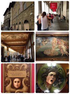 世界遺産。 イタリアルネサンス絵画で有名な美術館。近代式の美術館としてヨーロッパ最古のものの1つで、イタリア国内の美術館としては収蔵品の質、量ともに最大との事。 真ん中右は「ヴィーナスの誕生」サンドロ・ボッティチェッリ。 右下は「Medusa」ミケランジェロ・メリージ・ダ・カラヴァッジオ。 左下は、???です。(^^;