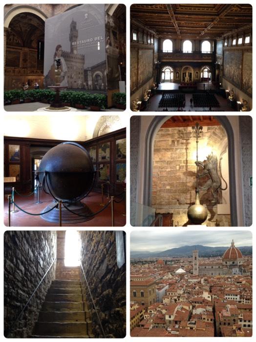 「500人大広間」の壁画をミケランジェロとダ・ビンチが競作した、ヴェッキオ宮。