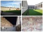 世界遺産。 ピサのドゥオーモに付属する納骨堂。13世紀後半、ジョバンニ=ディ=シモーネの設計で建設が始まり、15世紀に完成しました。白大理石によるロマネスク様式の回廊と中庭が、とても綺麗です。 でも墓の上を歩いてるようで、複雑な気分になりました。そして、右下の壁画が怖い!