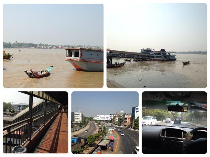 ヤンゴン川と交通事情。