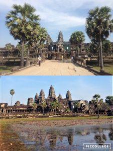 カンボジア北西部に位置するユネスコの世界遺産であるアンコール遺跡の一つ。当初はヒンドゥー教寺院として作られましたが、16世紀後半に仏教寺院に改修され、現在は上座部仏教寺院となっています。 サンスクリット語でアンコールは王都、クメール語でワットは寺院を意味します。クメール建築の傑作とされ、カンボジア国旗にも描かれています。