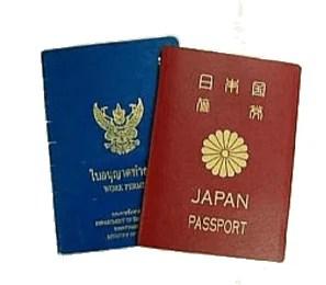 パスポートトとワークパミット(労働許可証)