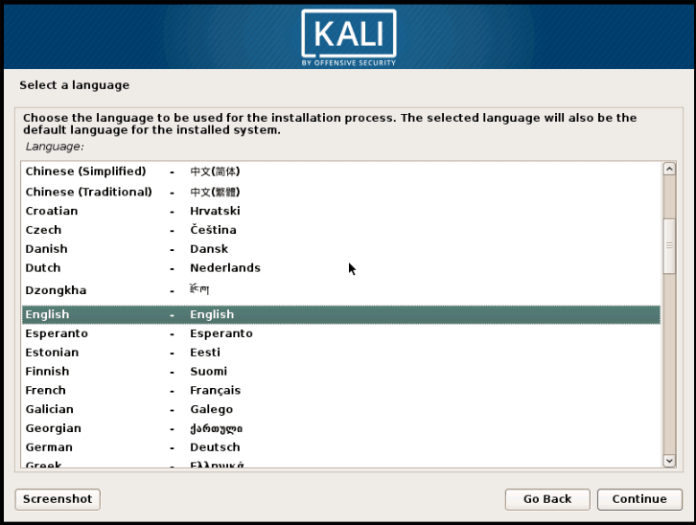 Select Language for install Kali Linux