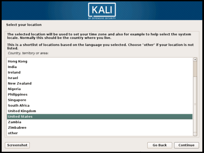 Select Country for install Kali Linux
