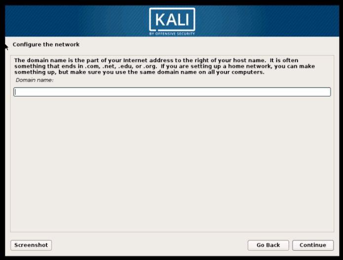 type your domain name to install Kali Linux