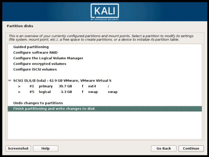 Disk Selection for Install Kali