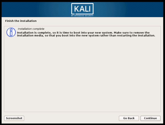 Kali Linux installation complete