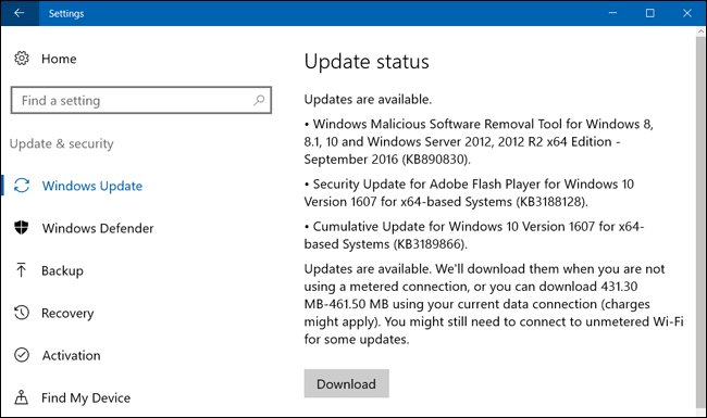 Windows 10 update window