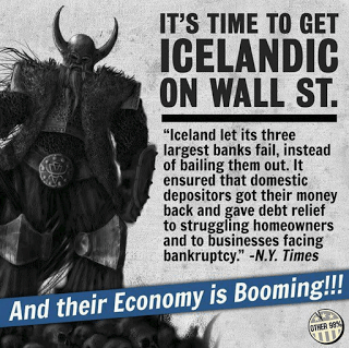 Economic equality protesters have been distributing propaganda lauding Iceland's economic success.
