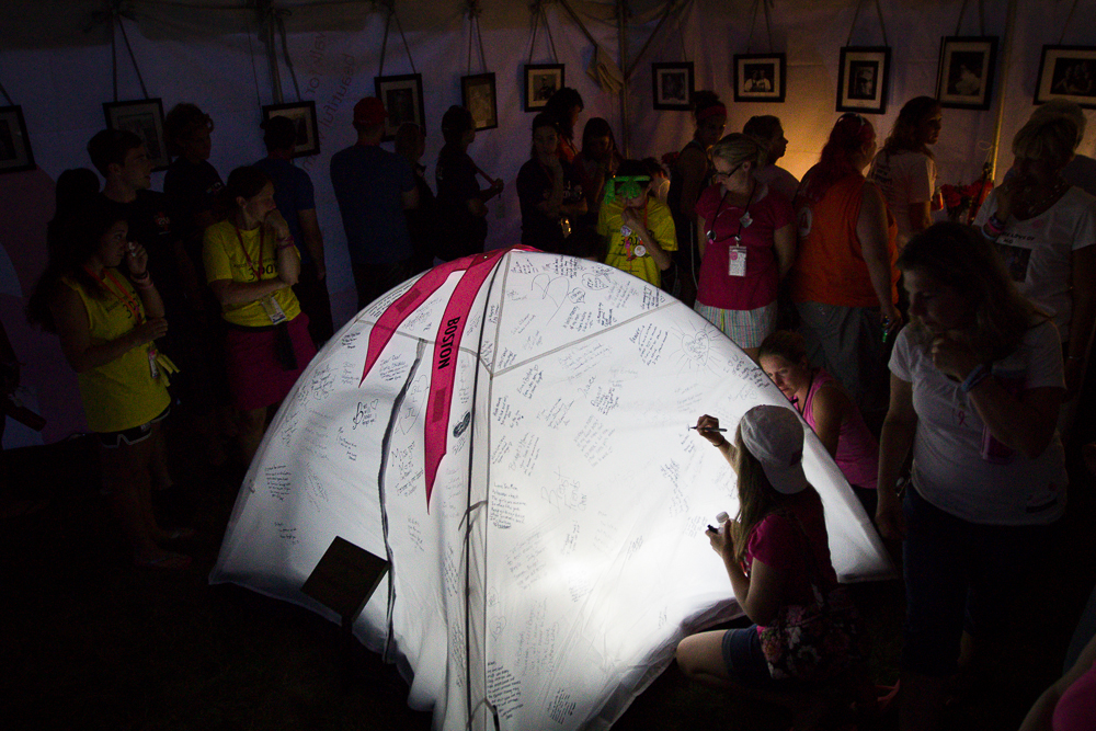 white remembrance tent 2013 Boston Susan G. Komen 3-Day Breast Cancer Walk