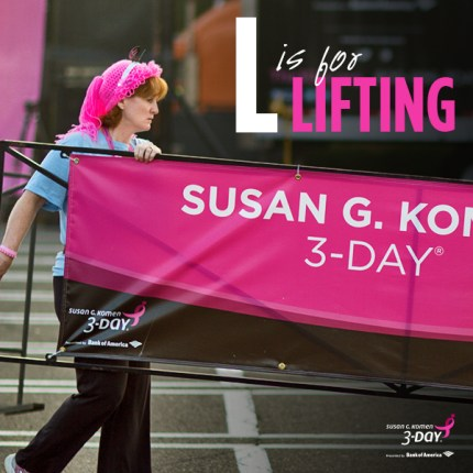 susan g. komen 3-Day breast cancer walk blog ABC's of the 3-Day crew lifting