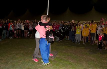 Dr. Sheri embraces a last walker on a 2014 3-Day.