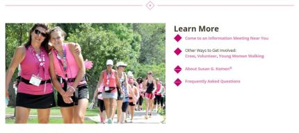 susan g. komen 3-day breast cancer walk blog 60 miles website learn more